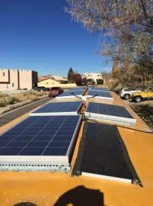 Solar panels on roof of bus